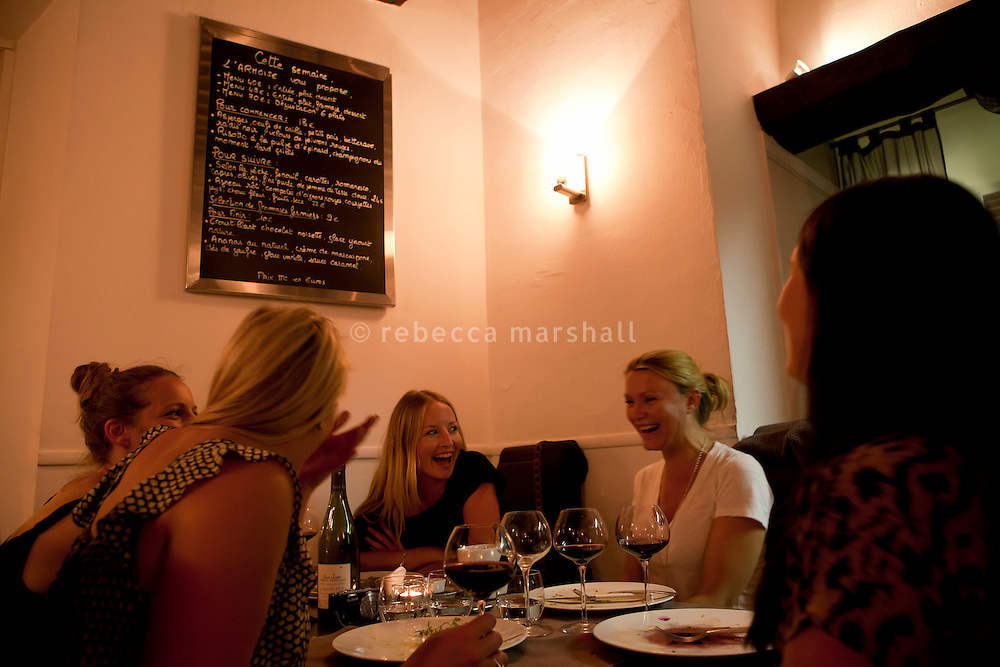 Evening diners at L'Armoise restaurant, Antibes, France, 07 April 2012