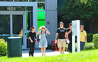 Sept. 6, 2011 - Mountain View, California - U.S. -  People walk out of one of the many buildings at the Google world headquarters in Mountain View, California Monday September 5, 2011.  (Credit Image: Alan Greth/ZUMAPress.com).