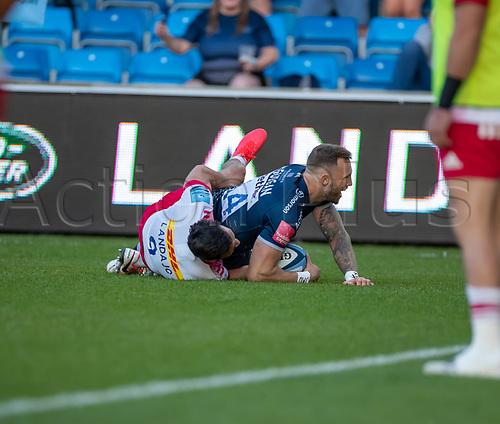 4th June 2021; AJ Bell Stadium, Salford, Lancashire, England; English Premiership Rugby, Sale Sharks versus Harlequins;  Byron McGuigan of Sale Sharks scores in the corner