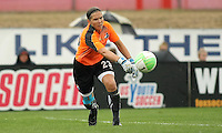 Sky Blue goalkeeper, Jenni Branam (23) throws the ball out to her midfield.  The Philadelphia Independence and Sky Blue FC headed into a rain delay, tied 0-0, after 16 minutes of play at Yurcak Field on the Rutgers University Campus in Piscataway, NJ.