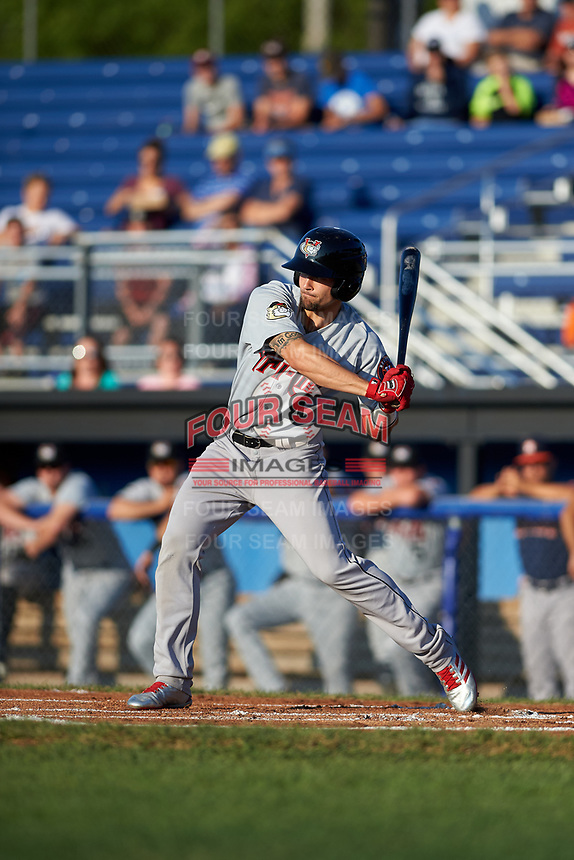 Tri-City ValleyCats left fielder J.J. Matijevic (4) at bat during a game against the Batavia Muckdogs on July 15, 2017 at Dwyer Stadium in Batavia, New York.  Tri-City defeated Batavia 5-4.  (Mike Janes/Four Seam Images)