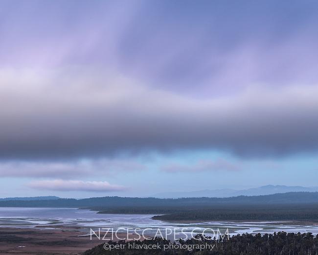 Dusk over Okarito Lagoon, Westland Tai Poutini National Park, West Coast, UNESCO World Heritage Area, New Zealand, NZ