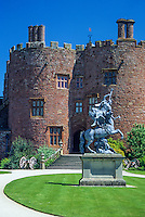 Wales, Powis Castle, near Welshpool, Powys.  Statue of Fame and Pegasus by Andries Charpentier.