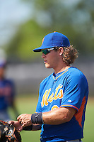 GCL Mets Kevin Hall (82) during warmups before the first game of a doubleheader against the GCL Astros on August 5, 2016 at Osceola County Stadium Complex in Kissimmee, Florida.  GCL Astros defeated the GCL Mets 4-1 in the continuation of a game started on July 21st and postponed due to inclement weather.  (Mike Janes/Four Seam Images)