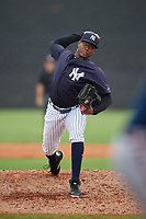New York Yankees Adonis De La Cruz (26) during a Minor League Spring Training game against the Atlanta Braves on March 12, 2019 at New York Yankees Minor League Complex in Tampa, Florida.  (Mike Janes/Four Seam Images)