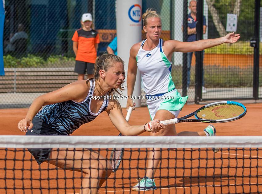 Amstelveen, Netherlands, 1 August 2020, NTC, National Tennis Center, National Tennis Championships, Women's Doubles final: Quirine Lemoine (NED) (L) and Richel Hogenkamp (NED)<br /> Photo: Henk Koster/tennisimages.com
