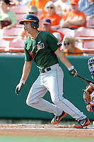 Third Baseman Brad Fieger #27 swings at a pitch during a  game against the Clemson Tigers at Doug Kingsmore Stadium on March 31, 2012 in Clemson, South Carolina. The Tigers won the game 3-1. (Tony Farlow/Four Seam Images).