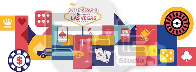 Illustrative collage of casino at Las Vegas, USA