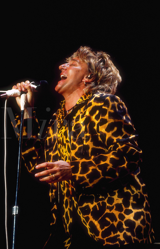Portrait of singer Rod Stewart in concert.