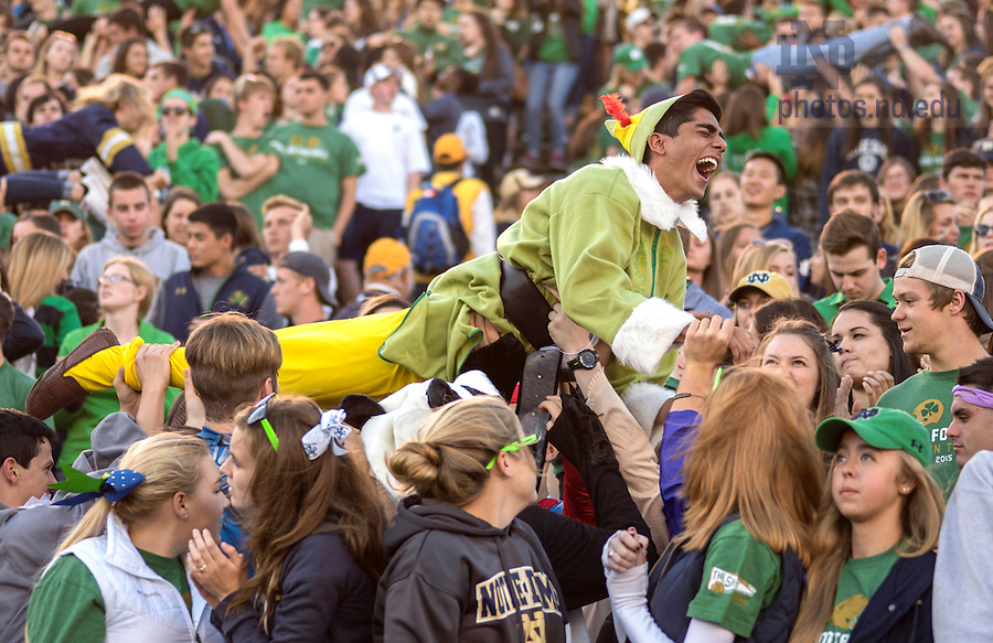Oct. 10, 2015; Student section of Notre Dame Stadium during the Navy game, 2015. (Photo by Barbara Johnston/University of Notre Dame)
