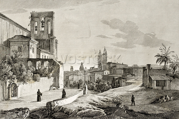 Old illustration of Mazara, Sicily. Original engraving created by A. Parboni and published in Florence, Italy, 1845