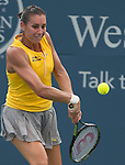 Flavia Pannetta (ITA) loses to Belinda Bencic (SUI), 6-1, 6-4, at the Western and Southern Open in Mason, OH on August 19, 2015.