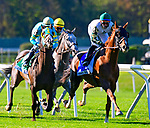 OCT 03, 2020 : #3 Channel Maker with Manuel Franco  aboard, wins the Grade 1 Joe Hirsch Turf Classic Stakes, for 3-year old & up, going 1 1/2 miles on the turf, at Belmont Park, Elmont, NY.  Dan Heary/Eclipse Sportswire/CSM