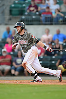 Arkansas Travelers catcher Jett Bandy (27) at bat during a game against the San Antonio Missions on May 25, 2014 at Dickey-Stephens Park in Little Rock, Arkansas.  Arkansas defeated San Antonio 3-1.  (Mike Janes/Four Seam Images)