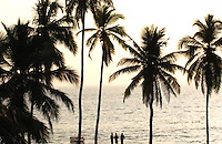 """Three men standing in front of Kovalam beach silhouette stock photo.<br /> <br /> This image is also available in monochrome. View the gallery-""""Black & White Fine Art Images""""."""