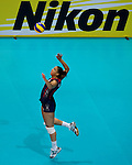 22 August 2010, Hong Kong, China ---  Alisha Glass of the USA serves against China during their volleyball game on the last day of the FIVB World Grand Prix Pool G at the Hong Kong Coliseum stadium. Photo by Victor Fraile --- Image by © Victor Fraile