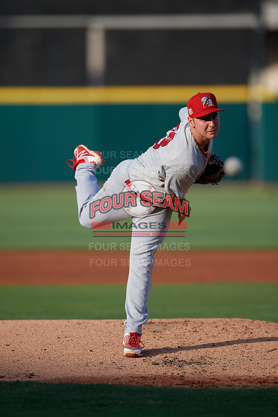Palm Beach Cardinals starting pitcher Perry DellaValle (33) during a Florida State League game against the Lakeland Flying Tigers on April 17, 2019 at Publix Field at Joker Marchant Stadium in Lakeland, Florida.  Lakeland defeated Palm Beach 1-0.  (Mike Janes/Four Seam Images)