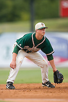 Third baseman Matt Dominguez (33) of the Greensboro Grasshoppers on defense at Fieldcrest Cannon Stadium in Kannapolis, NC, Saturday August 24, 2008. (Photo by Brian Westerholt / Four Seam Images)