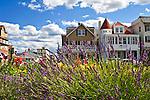Beautiful victorian houses along Ocean Pathway in the Methodist community of Ocean Grove, New Jersey