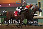ARCADIA, CA  MARCH 10:  #1 Bolt d'Oro, ridden by Javier Castellano, beats #4 McKinzie, ridden by Mike Smith, by disqualification to win the San Felipe Stakes (Grade ll) on March 10, 2018, at Santa Anita Park in Arcadia, CA.(Photo by Casey Phillips/ Eclipse Sportswire/ Getty Images)