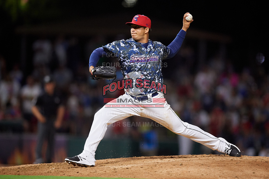 Jacksonville Jumbo Shrimp relief pitcher Jose Quijada (40) delivers a pitch during a game against the Mobile BayBears on April 14, 2018 at Baseball Grounds of Jacksonville in Jacksonville, Florida.  Mobile defeated Jacksonville 13-3.  (Mike Janes/Four Seam Images)