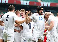 10th July 2021; Twickenham, London, England; International Rugby Union England versus Canada; Joe Heyes of England scores and the team celebrates