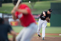 Kannapolis Intimidators starting pitcher Chris Comito (39) delivers a pitch to the plate against the Lakewood BlueClaws at Kannapolis Intimidators Stadium on May 10, 2016 in Kannapolis, North Carolina.  The BlueClaws defeated the Intimidators 5-3.  (Brian Westerholt/Four Seam Images)