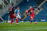 BLACKBURN, ENGLAND - JANUARY 24: Jonjo Shelvey of Swansea City (l) passes the ball out  during the FA Cup Fourth Round match between Blackburn Rovers and Swansea City at Ewood park on January 24, 2015 in Blackburn, England.  (Photo by Athena Pictures/Getty Images)
