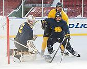 Rasmus Tirronen (Merrimack - 32), Quinn Gould (Merrimack - 10), Josh Myers (Merrimack - 23) -  - The participating teams in Hockey East's first doubleheader during Frozen Fenway practiced on January 3, 2014 at Fenway Park in Boston, Massachusetts.