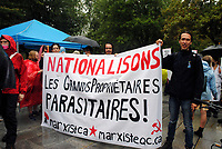 Marxistes durant la Manifestation de syndicats pour les droits des travailleurs, le 6 Septembre 2021 durant la fin de semaine de la Fête du travail.<br /> <br /> PHOTO : Agence Quebec Presse - Anne Campagna