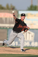 Brian Pearl #31 of the Bakersfield Blaze pitches against the Inland Empire 66ers at San Manuel Stadium on August 21, 2014 in San Bernardino, California. Inland Empire defeated Bakersfield, 3-1. (Larry Goren/Four Seam Images)