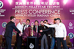 HAIKOU, CHINA - OCTOBER 27:  (L-R) President of Creative Artist Agency Richard Lovett, multiple Olympic gold medalist Michael Phelps of USA, golf legend Greg Norman of Australia, Dr. Ken Chu, Vice Chairman of Mission Hills Group, Zhu Hang Song, leading Chinese film director Feng Xiaogang, famous Chinese actor Chan Dao Ming, Hollywood super star actor Christian Slater of USA and former women's world number one golfer Annika Sorenstam of Sweden pose with the Mission Hills Star Trophy during  the tournament opening press conference on October 27, 2010 in Haikou, China. The Mission Hills Star Trophy is Asia's leading leisure liflestyle event and features Hollywood celebrities and international golf stars. Photo by Victor Fraile / The Power of Sport Images