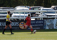 Greg Dyer of Jersey Reds scores from the conversion during the Greene King IPA Championship match between Ealing Trailfinders and Jersey at Castle Bar, West Ealing, England  on 19 October 2019. Photo by Alan Stanford / PRiME Media Images