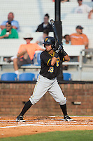 Edgar Figueroa (13) of the Bristol Pirates at bat against the Johnson City Cardinals at Howard Johnson Field at Cardinal Park on July 6, 2015 in Johnson City, Tennessee.  The Pirates defeated the Cardinals 2-0 in game one of a double-header. (Brian Westerholt/Four Seam Images)