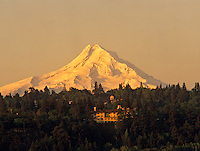 Mt. Hood with Columbia River Hotel. Columbia River Gorge National Scenic Area, Oregon