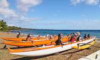 Canoe paddling practice teams with their outrigger canoes at Hanakao'o Beach Park (a.k.a. Canoe Beach), Lahaina, Maui.