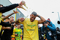 1st May 2021; Carrow Road, Norwich, Norfolk, England, English Football League Championship Football, Norwich versus Reading; Onel Hernandez of Norwich City celebrates with fans after winning the EFL championship