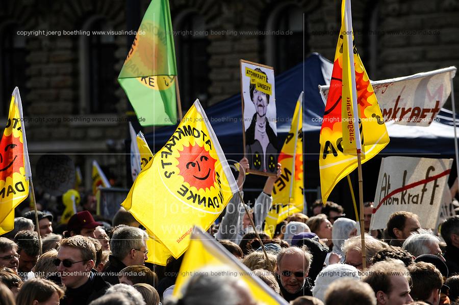 GERMANY Hamburg, big rally against nuclear power after Fukushima accident in Japan / DEUTSCHLAND, Hamburg, DEMO fuer Atomausstieg nach Havarie im AKW Fukushima in Japan, Plakat mit Bild der Bundeskanzlerin Angela Merkel mit Schriftzug Atomkraft ist unsexy