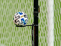 WASHINGTON, DC - SEPTEMBER 06: A Adidas soccer ball sits on the side of the field during a game between New York City FC and D.C. United at Audi Field on September 06, 2020 in Washington, DC.