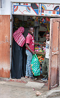 Zanzibar, Tanzania.  Neighborhood Sundries Shop in Stone Town.
