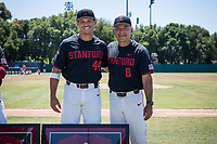 STANFORD, CA - MAY 29: Senior Christian Robinson, David Esquer before a game between Oregon State University and Stanford Baseball at Sunken Diamond on May 29, 2021 in Stanford, California.