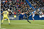 Leganes Claudio Beauvue shooting goal vs Real Madrid during Copa del Rey  match. A quarter of final go. 20180118.