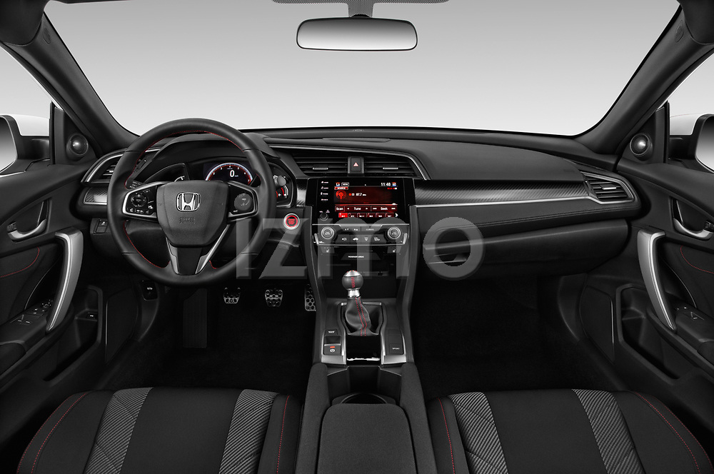Stock photo of straight dashboard view of 2019 Honda Civic-Si-Coupe - 2 Door Coupe Dashboard