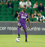 18th April 2021; HBF Park, Perth, Western Australia, Australia; A League Football, Perth Glory versus Wellington Phoenix; Jason Geria of the Perth Glory controls the ball in defence
