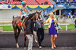 Conquest Harlanate(7) with Jockey Patrick Husbands aboard makes their way to the winners circle after running to victory at the Natalma Stakes at Woodbine Race Course in Toronto, Canada on September 13, 2014.