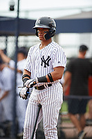 GCL Yankees East second baseman Jesus Graterol (6) on deck during the first game of a doubleheader against the GCL Yankees West on July 19, 2017 at the Yankees Minor League Complex in Tampa, Florida.  GCL Yankees West defeated the GCL Yankees East 11-2.  (Mike Janes/Four Seam Images)