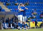 St Johnstone v Preston North End…13.07.21  McDiarmid Park<br />David Wotherspoon celebrates his goal with Shaun Rooney<br />Picture by Graeme Hart.<br />Copyright Perthshire Picture Agency<br />Tel: 01738 623350  Mobile: 07990 594431