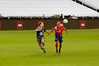 ST PAUL, MN - SEPTEMBER 9: Chase Gasper #77 of Minnesota United FC and Michael Barrios #21 of FC Dallas battle for the ball during a game between FC Dallas and Minnesota United FC at Allianz Field on September 9, 2020 in St Paul, Minnesota.
