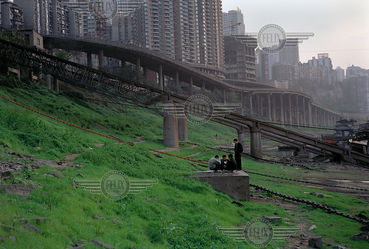 Life on the banks of the Yangtze river. This whole riverside area was submerged after the completion of the Three Gorges Dam.