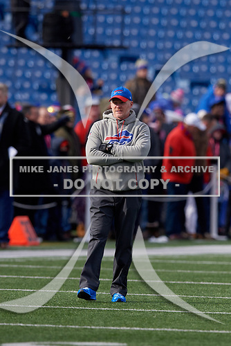 Buffalo Bills head coach Sean McDermott during pre-game warmups before NFL football game against the New York Jets, Sunday, December 9, 2018, in Orchard Park, N.Y.  (Mike Janes Photography)